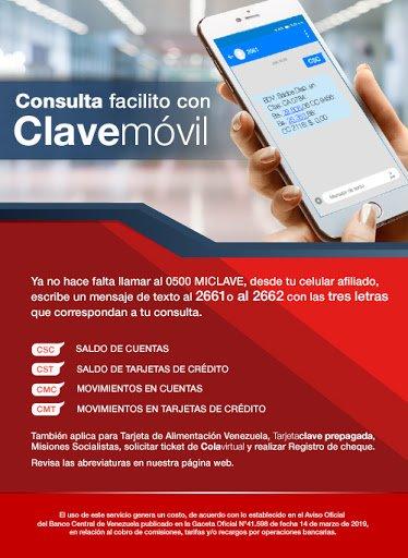 Banco de Venezuela Clave movil para consulta de Saldo